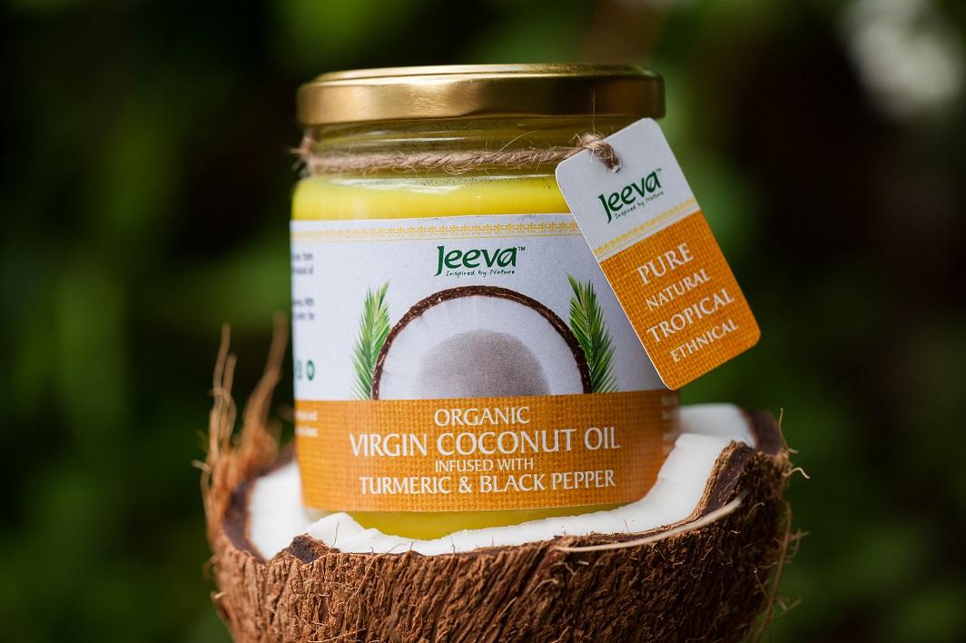 Jeeva organic virgin coconut oil with turmeric and black pepper